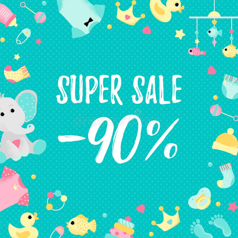 Special sale poster with baby shower elements. Background. Super Sale 90 off. Background for different designs: card, poster, sales, news for sale.  Vector vector illustration