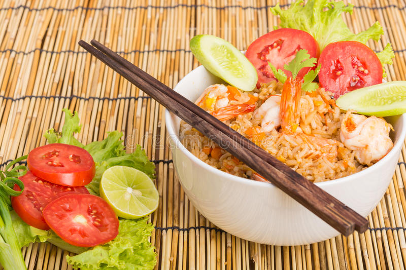 Special Shrimp fried rice in black cup stock image