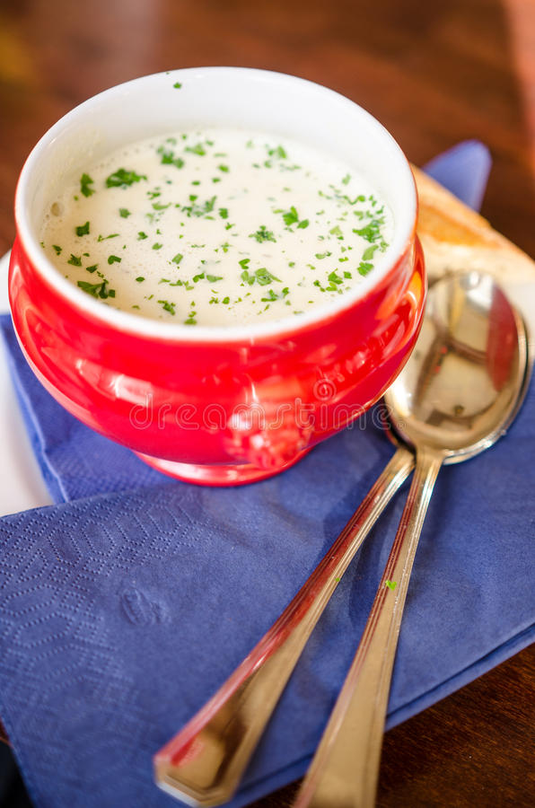 Special Smoked beer and garlic soup. A red bowl of smoked beer and garlic soup royalty free stock photo