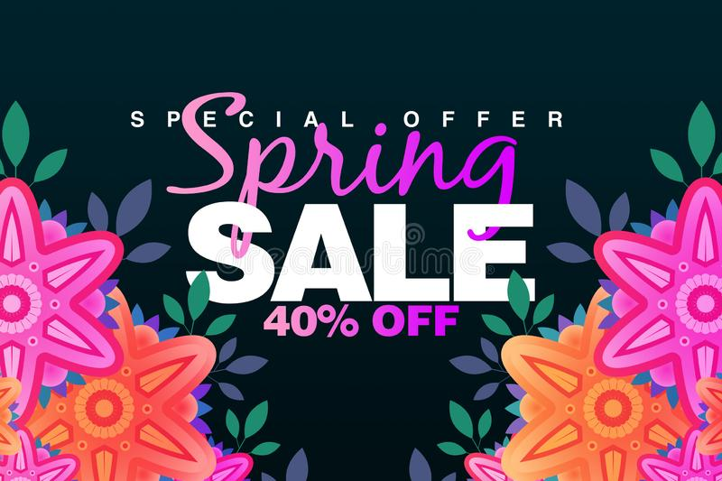 Special Spring sale 40% Off banner with paper flowers on a dark background. Illustration perfect for promotions, advertising, web stock images