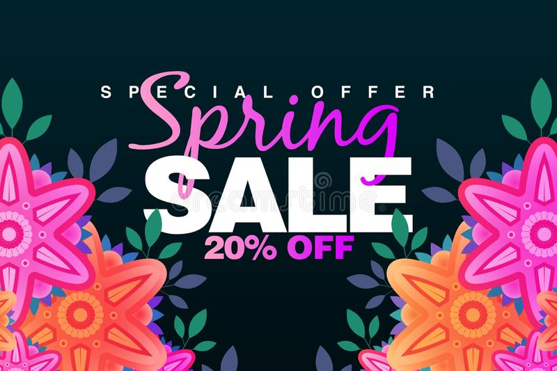 Special Spring sale 20% Off banner with paper flowers on a dark background. Illustration perfect for promotions, advertising, web. Sites, mobile banner stock illustration