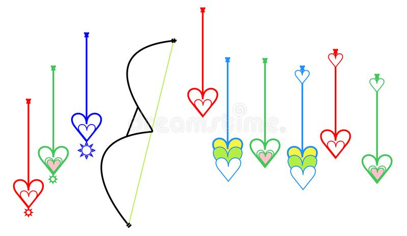 Special target point arrows or aiming point arrows or lakhyabhed arrows with love sign icon stock illustration