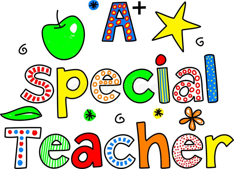 A special teacher. Decorative whimsical paterned text design