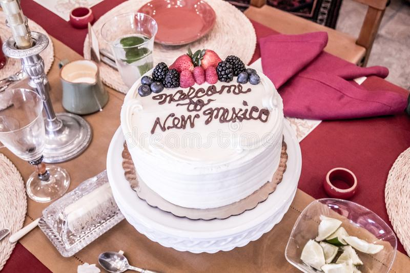 A cake just to say Welcome to New Mexico. A special time to welcome your family, friends and guests to New Mexico, and a welcome cake simply sets off the big royalty free stock photos