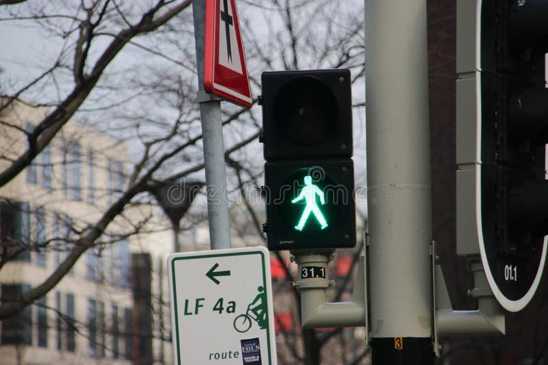 Special traffic lights for pedestrians on the street in Den Haag The Hague royalty free stock photo