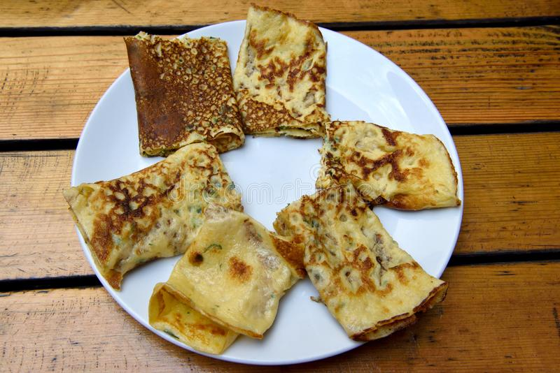 Special Turkish pancake kaygana. In the Black Sea region of Turkey royalty free stock images