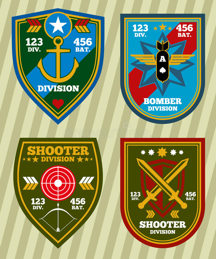 Special unit military army and navy patches, emblems vector set stock illustration