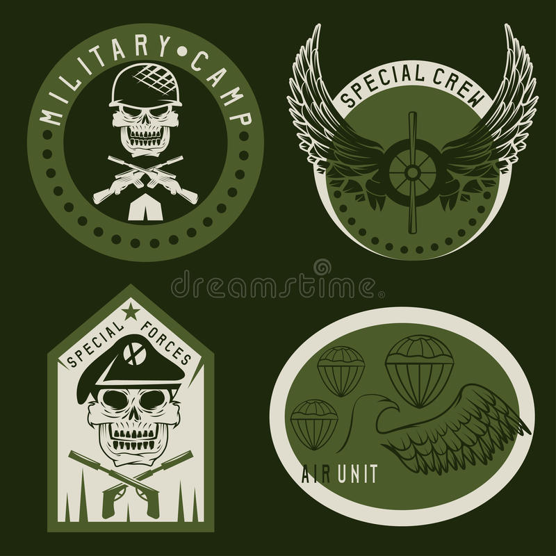 Special unit military emblem set vector design royalty free illustration