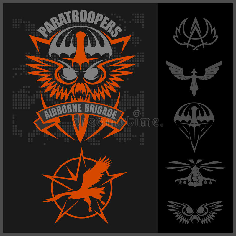 Special unit military emblem set vector design template. royalty free illustration