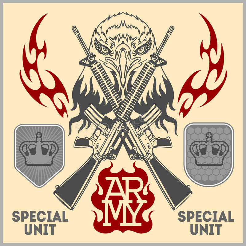 Special unit military patch - vector set stock illustration