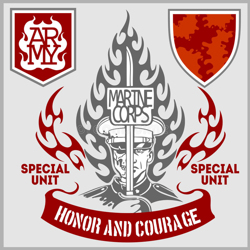Special unit military patch - vector set vector illustration