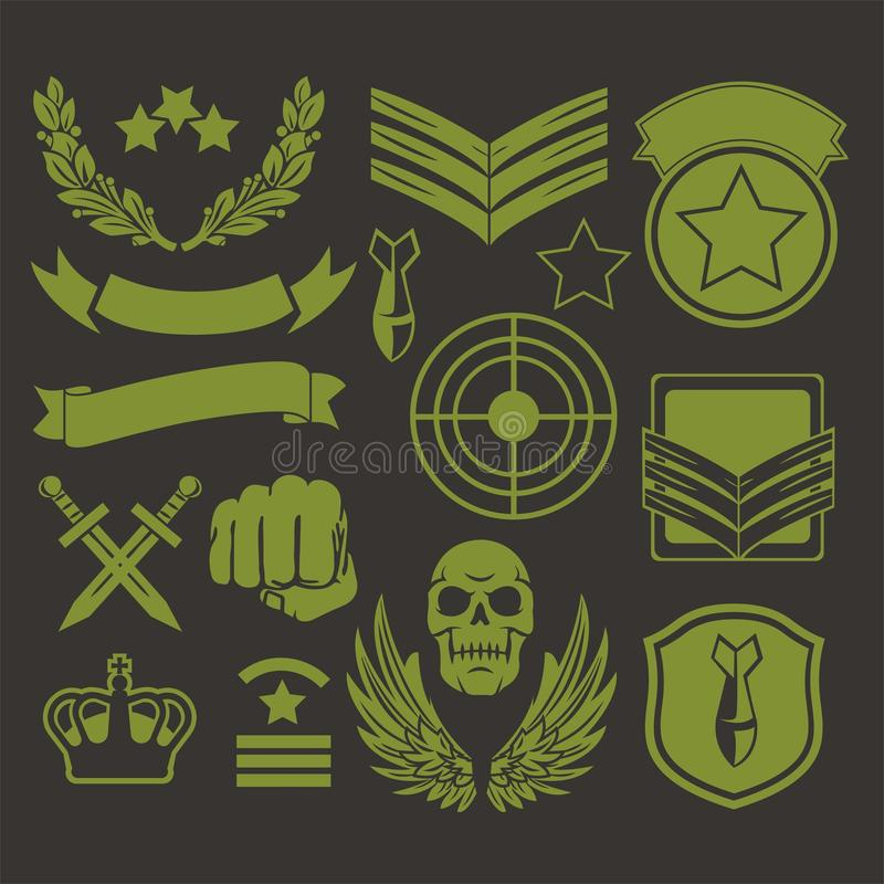 Special unit military patches vector illustration