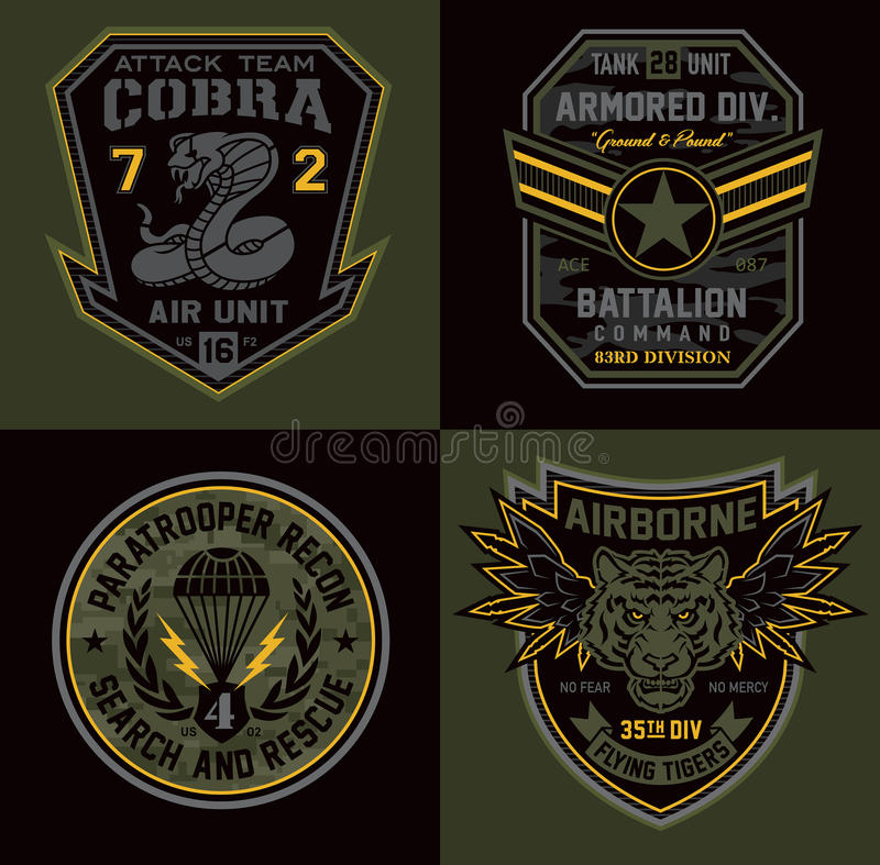 Special unit miltary badge patches stock illustration