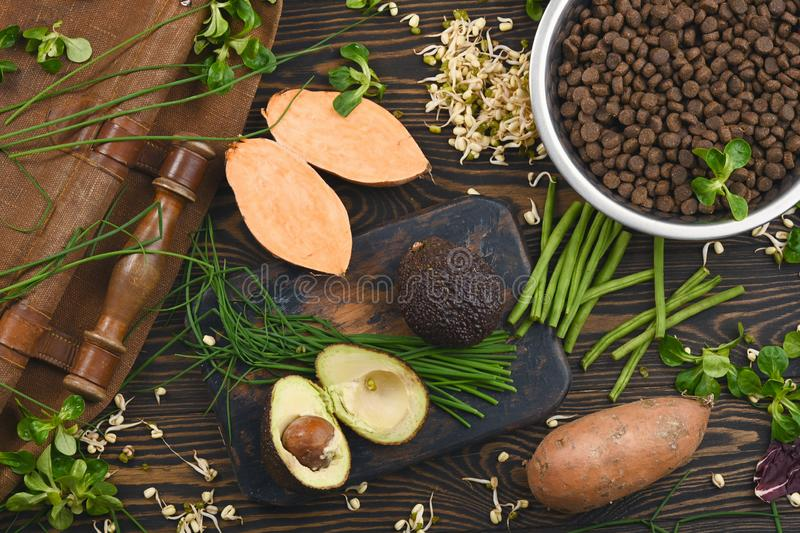 Special vegan pet food and natural raw ingredients on brown wooden background stock photo