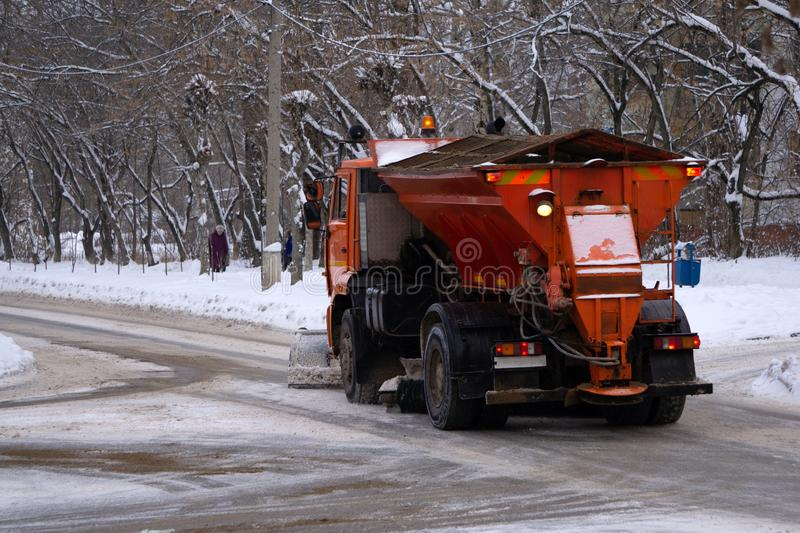 Special vehicles for irrigation of roads.They are used in dry weather.front end of cleaning machine for water spray. city city. Service royalty free stock image