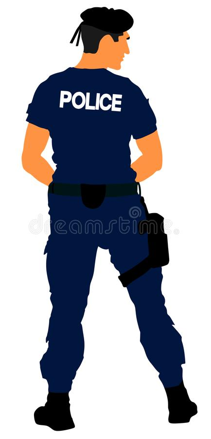 Special weapons and tactics SWAT team officer isolated on background. Special force police member. Gendarme. vector illustration