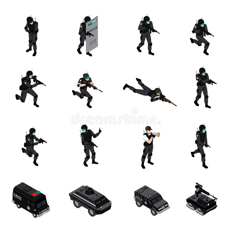 Special Weapons Unit Isometric Icons Collection vector illustration