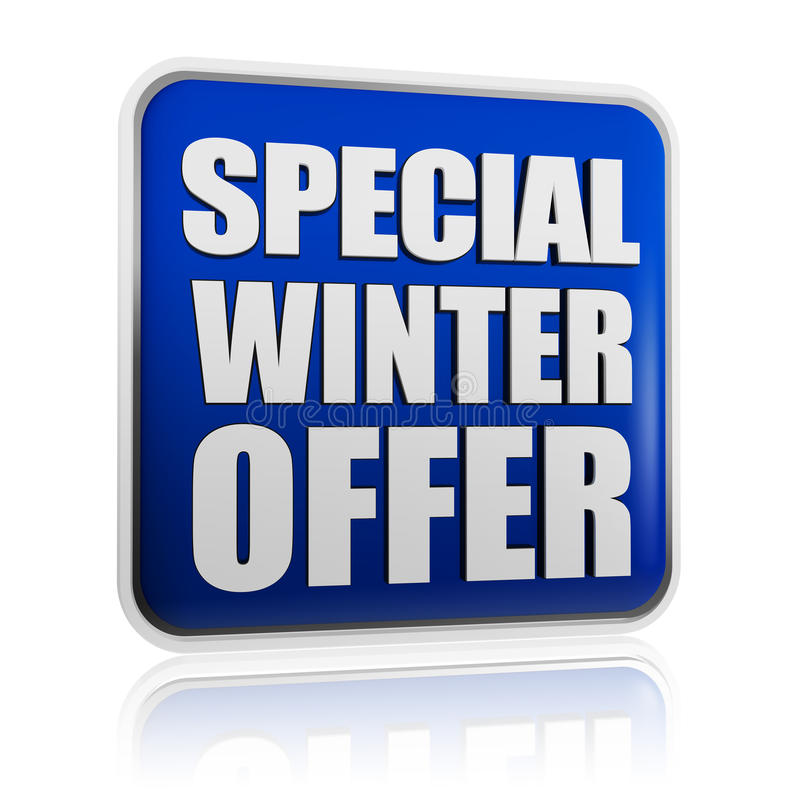 Special winter offer banner. Special winter offer 3d blue banner with white text, business concept royalty free stock image