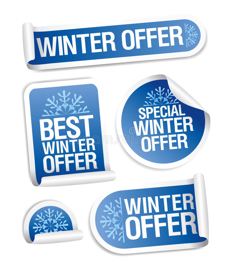 Free Special Winter Offer Stickers. Royalty Free Stock Photography - 22090827