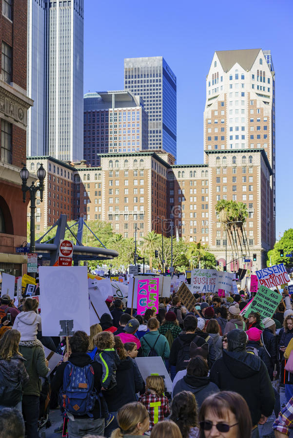 Special Women March event and Protesters around Los Angeles royalty free stock photos