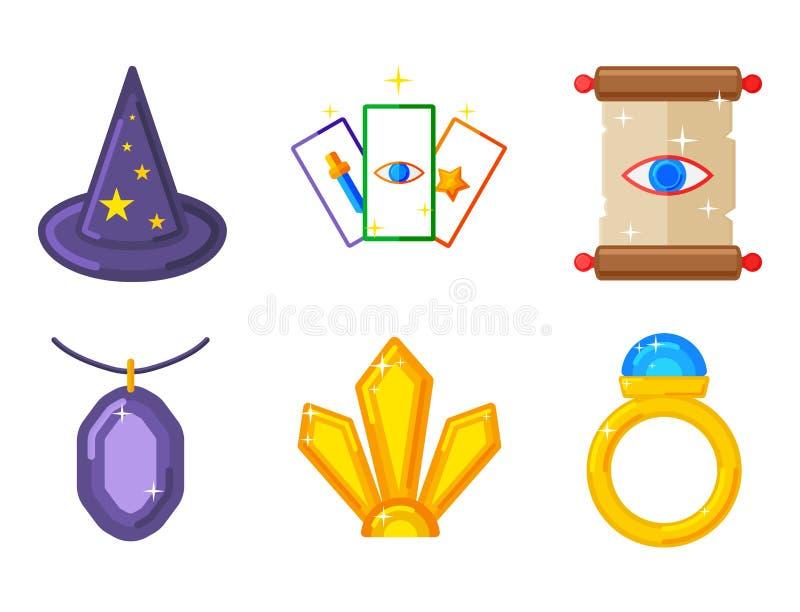 Speciala magiska hjälpmedel för gåta för karneval för symboltrollkarlfantasi stock illustrationer
