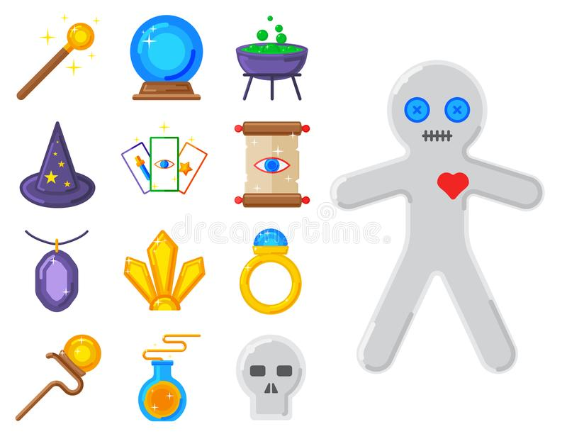 Speciala magiska hjälpmedel för gåta för karneval för symboltrollkarlfantasi vektor illustrationer