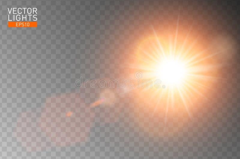 Specialblendenfleck Sonnenlicht des Vektors transparenter Abstrakte Sonnenblitzstrahlen und -scheinwerfer Goldenes vorderes licht stock abbildung