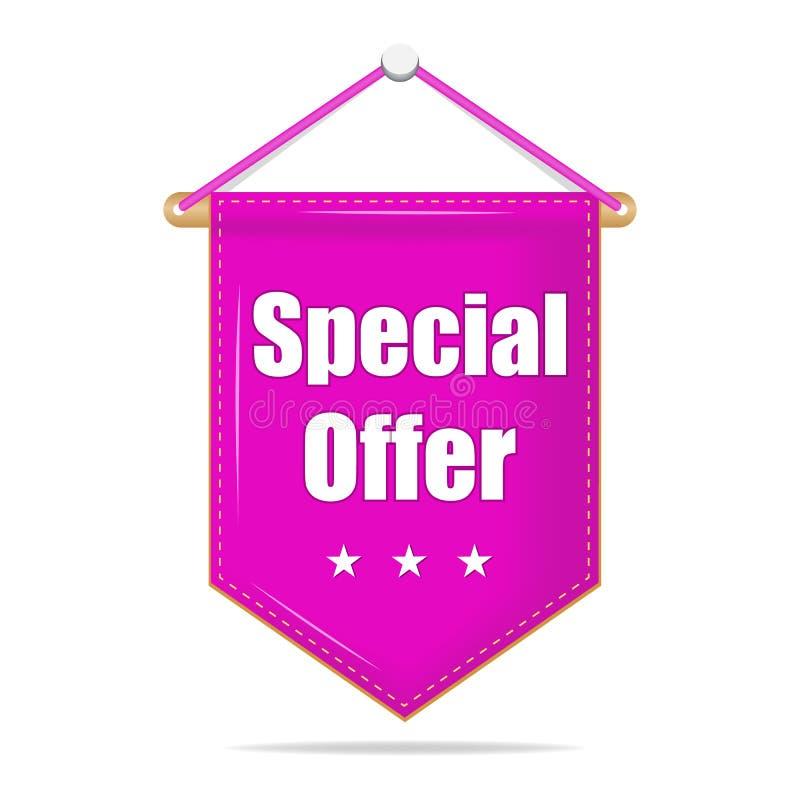 Speciale aanbieding violette markering, etiket voor zaken, die op geïsoleerde achtergrond op de markt brengen Vectorbannerillustr stock illustratie