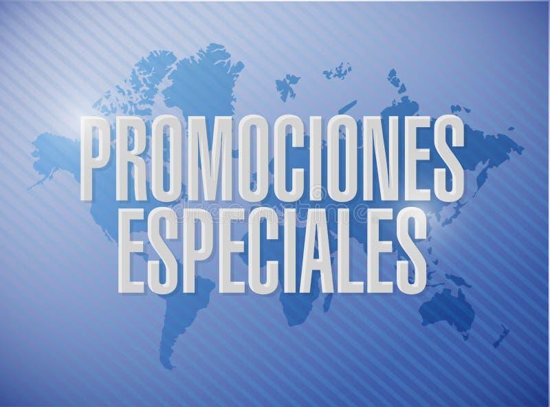speciale bevorderingen in het Spaanse concept van het wereldteken royalty-vrije illustratie