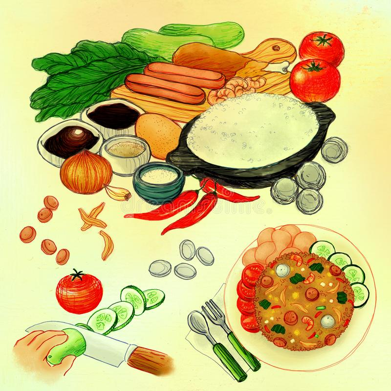Speciale Fried Rice Asian Cuisine How per cucinare Mix Media Illustration illustrazione vettoriale