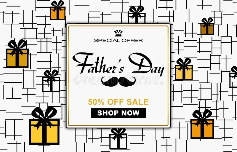 Speciale illustratie voor de dag van de vader, het winkelen kortingsbeeld royalty-vrije illustratie