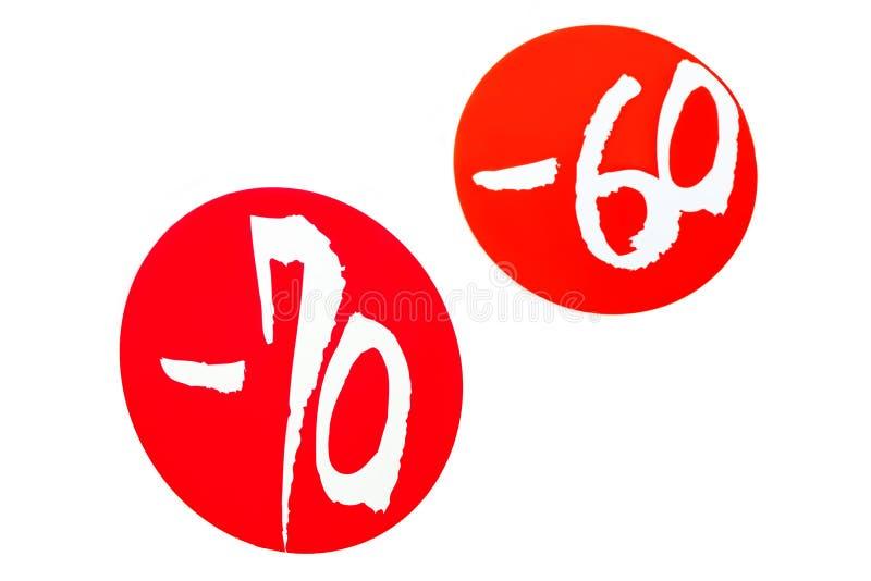 Speciale kortingen minus 70 en minus 60 percenten stock illustratie