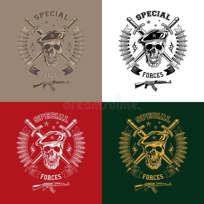 Speciale krachten zwart-wit emblemen royalty-vrije illustratie
