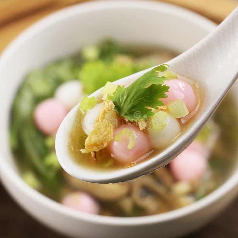 Speciale soep van rijstbal met kruiden op witte lepel stock afbeelding