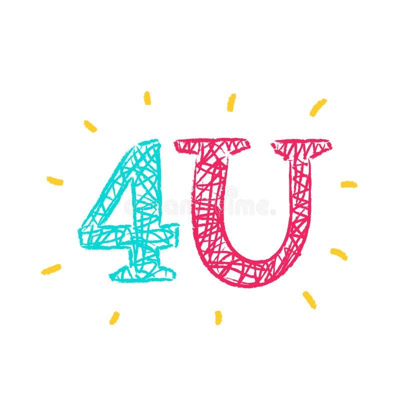 Speciale 4U voor u - eenvoudig inspireer en motievencitaat Hand het getrokken van letters voorzien Druk voor inspirational affich stock illustratie