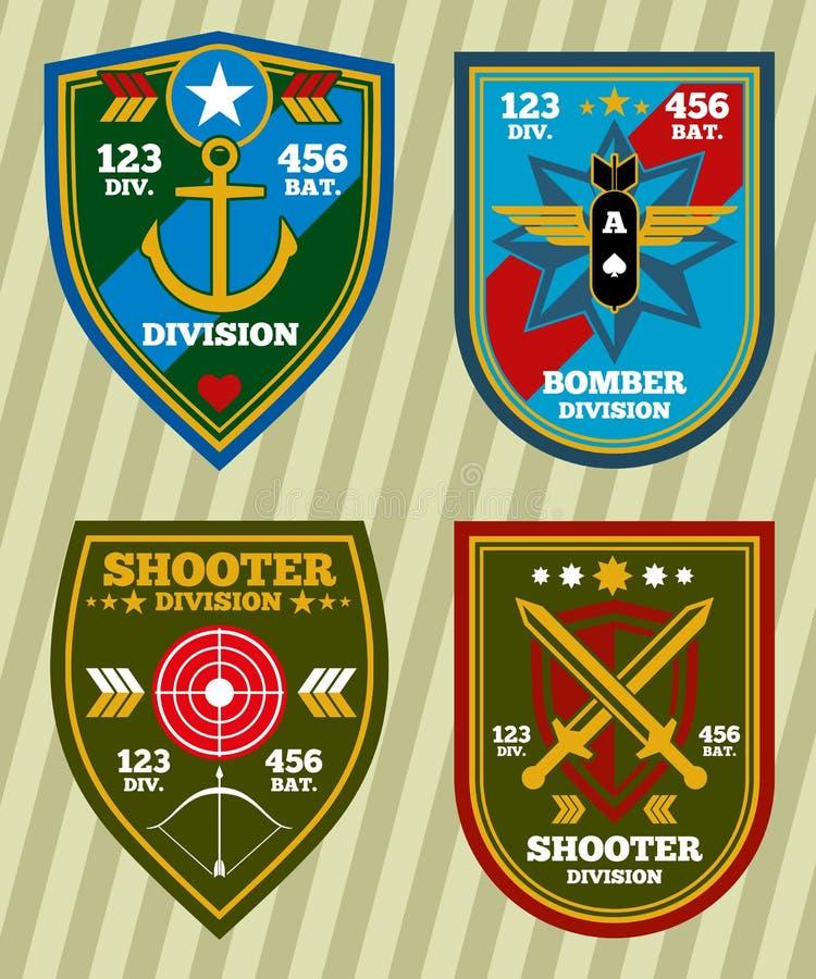 Speciale van de eenheids militaire leger en marine flarden, emblemen vectorreeks stock illustratie