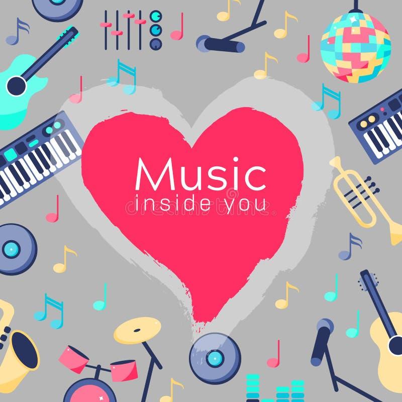 Speciale verkoopaffiche met muzikale instrumenten royalty-vrije illustratie