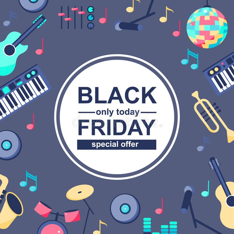 Speciale verkoopaffiche met muzikale instrumenten stock illustratie