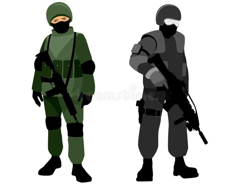 Specialförbandsoldater vektor illustrationer