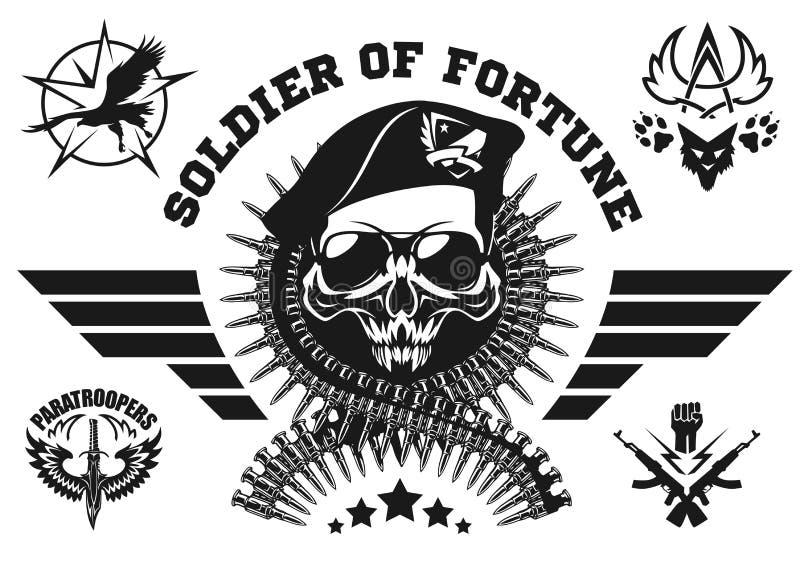 Specialförbandvektoremblem med skallen, ammunitionar och vingar stock illustrationer