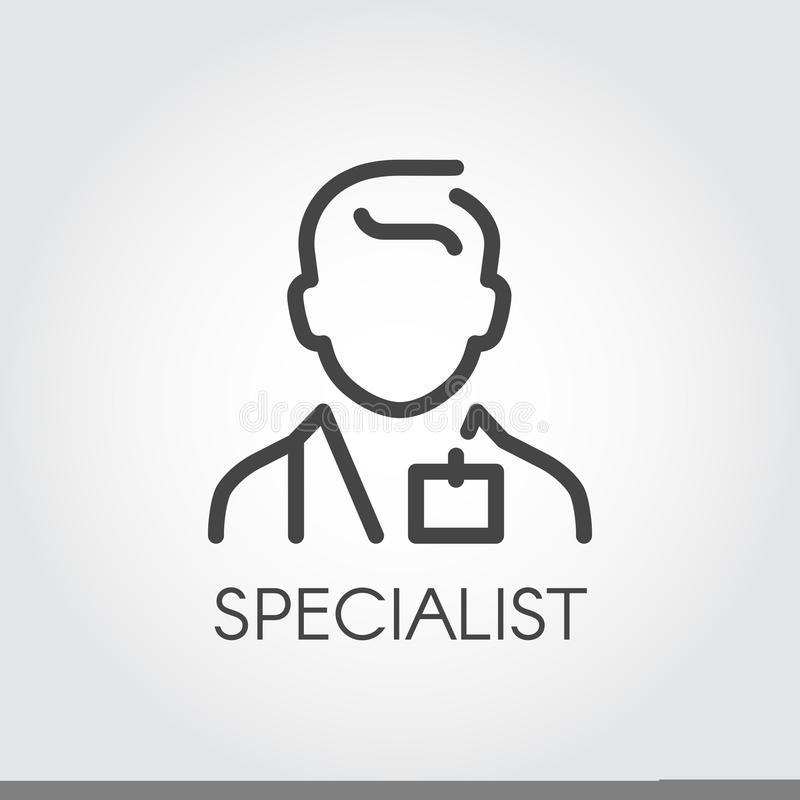 Specialist av medicinska vetenskaper, doktor, konsulentöversiktssymbol Stående av mannen doc Yrke av portionfolklogoen royaltyfri illustrationer