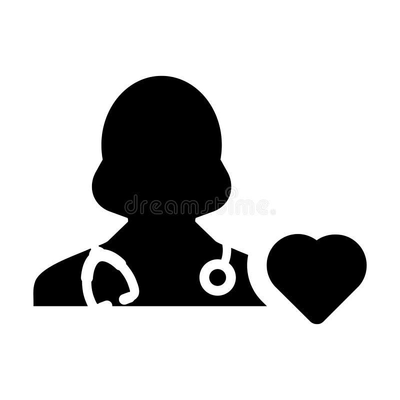 Specialist för doktor Icon Vector Cardiologist med hjärtasymbolet för den kvinnliga läkaren Profile Avatar i skåraPictogram stock illustrationer