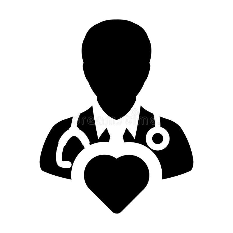 Specialist för doktor Icon Vector Cardiologist med hjärtasymbolet för den manliga läkaren Profile Avatar i skåraPictogram vektor illustrationer