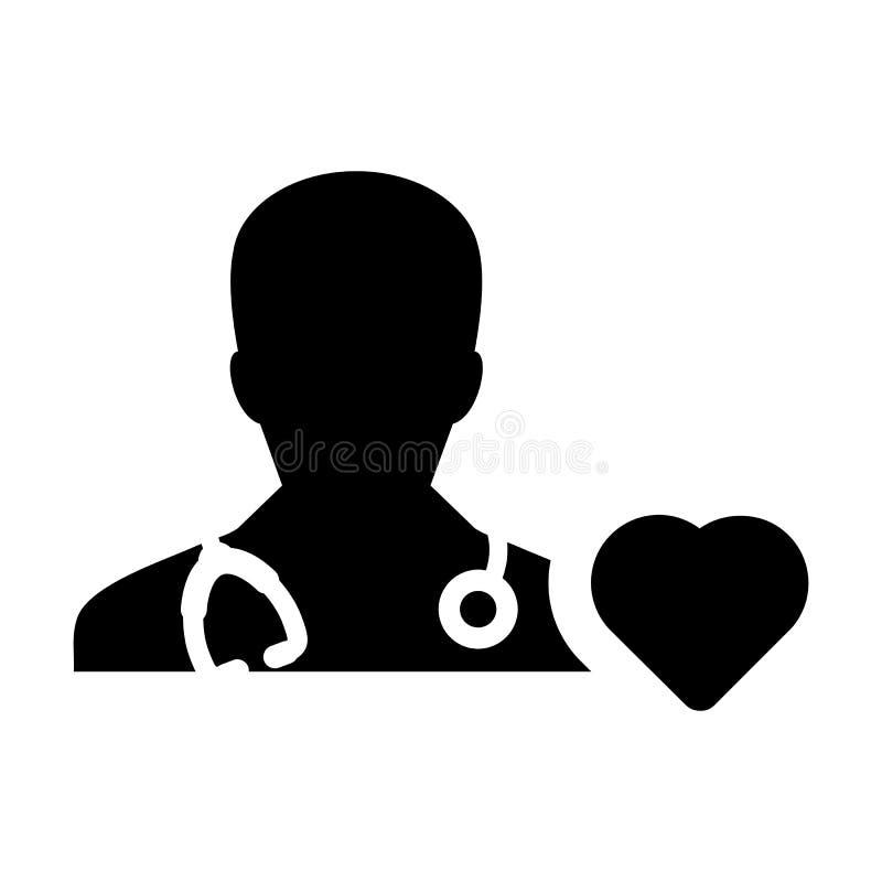 Specialist för doktor Icon Vector Cardiologist med hjärtasymbolet för den manliga läkaren Profile Avatar i skåraPictogram royaltyfri illustrationer