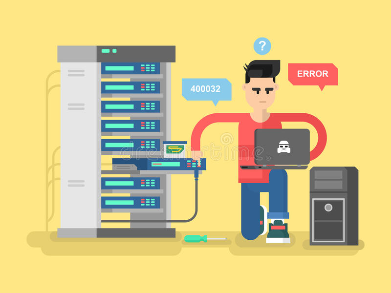IT Specialist network. Technology computer, information and electronic, engineer repair system, vector illustration vector illustration