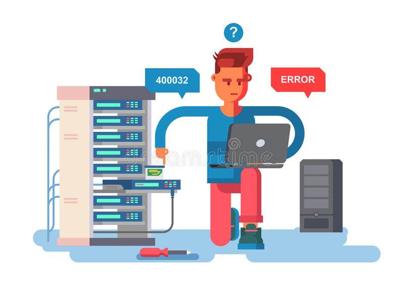 IT Specialist network. Technology computer, information and electronic, engineer repair system, vector illustration stock illustration