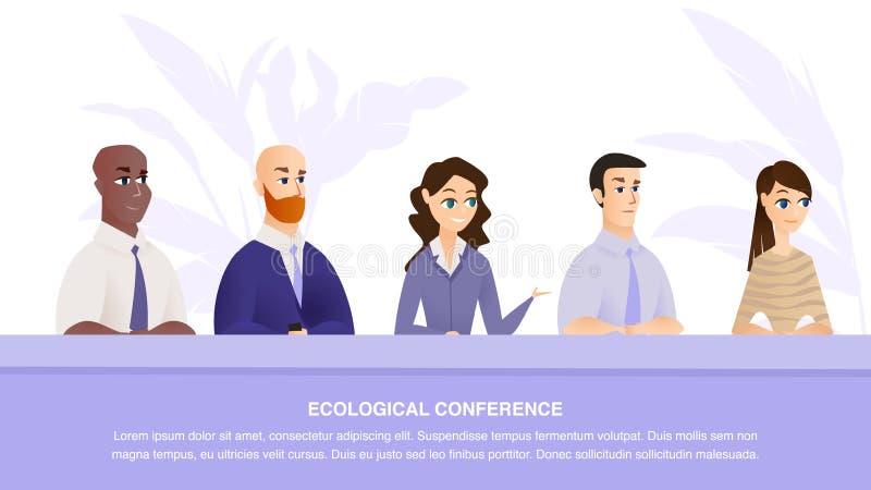 Specialisten van de banner de Vector Ecologische Conferentie stock illustratie