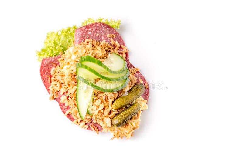 Specialità danesi e piatti nazionali, panino aperto di alta qualità immagini stock libere da diritti