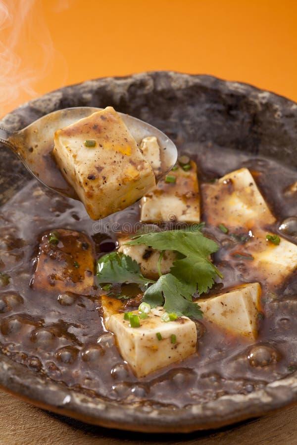 Specialità del tofu nero di zietta della canapa in vassoio tradizionale fotografia stock