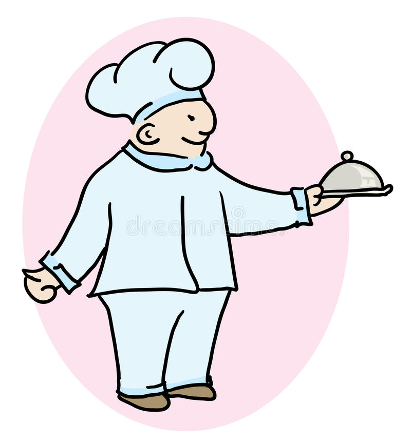 Speciality of the house. Chef cook holding a specialty of the house at his hands vector illustration